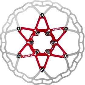 ASHIMA ARO-10 AiNeon Disco del freno 6 bulloni, rosso/argento
